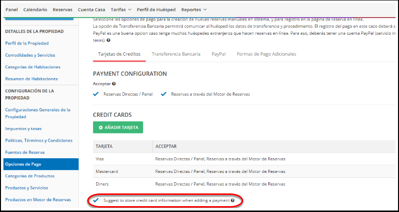 Cómo configurar la opción de pago con tarjeta de crédito? – myfrontdesk